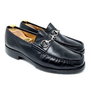 GUCCI Black Leather Loafer with Silver Horsebit